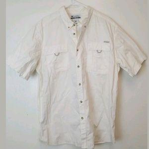 Columbia Button Down Sportsman Shirt Ivory Sz XXL